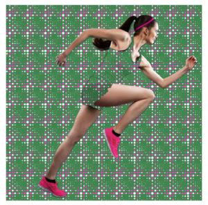 Textilgrafik Sportswear-Kollage Sportswear Läuferin verschmilzt mit Background