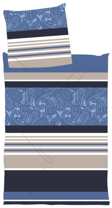 Bettwaesche platzierter Print Streifen und paisely