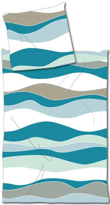 Heimtextilien Bettwäsche Allover Wellen Grafisch
