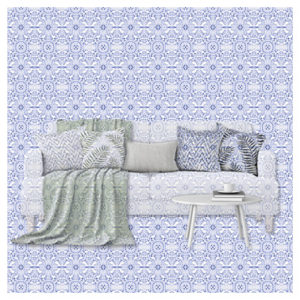 Textildesign Heimtextilien-Kollage Sofa verschmilzt mit Background