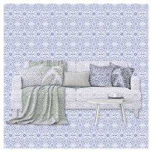 Textildesign Heimtextilien-Kollage Sofa verschmilzt mit Background