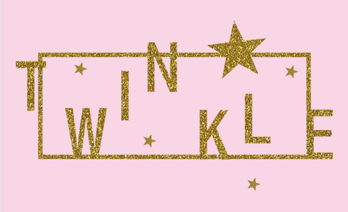 Glitzerprint Schriftzug Twinkle in Rahmen mit Sternen