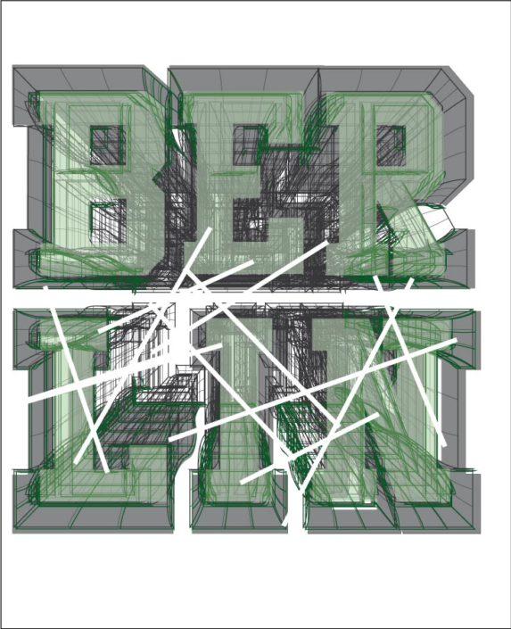 Platzierter Photoprint Boys schriftzug Berlin 3D mit Linien