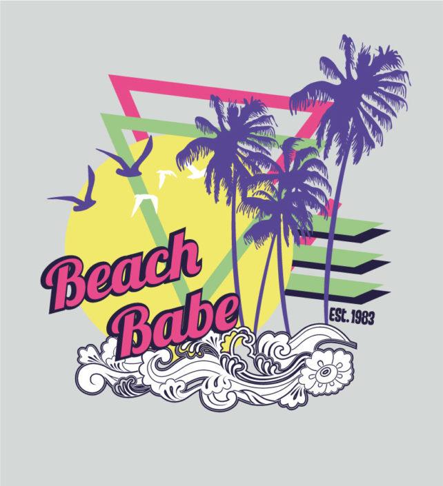 Platzierter Print Girls schriftzug Beach Babe Palmen mit grafischen elementen