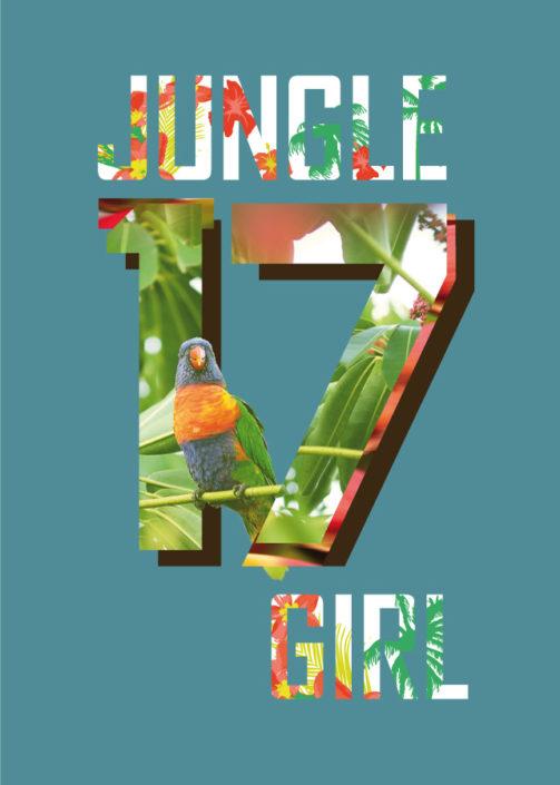 Platzierter Photoprint Girls schriftzug Jungle mit Zahl 17 und Dschungelmotiven