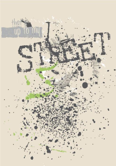 Platzierter print Schriftzug Street mit Klecksen