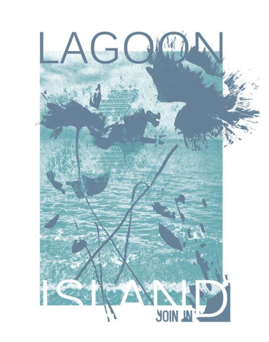 Photoprint Wasser abstrakte Blumen Typo Lagoon Island