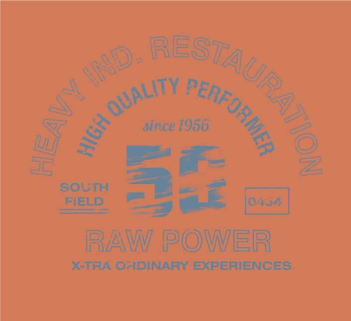 Print Halbrund Jeansig Typo Raw Power Blue auf Orange