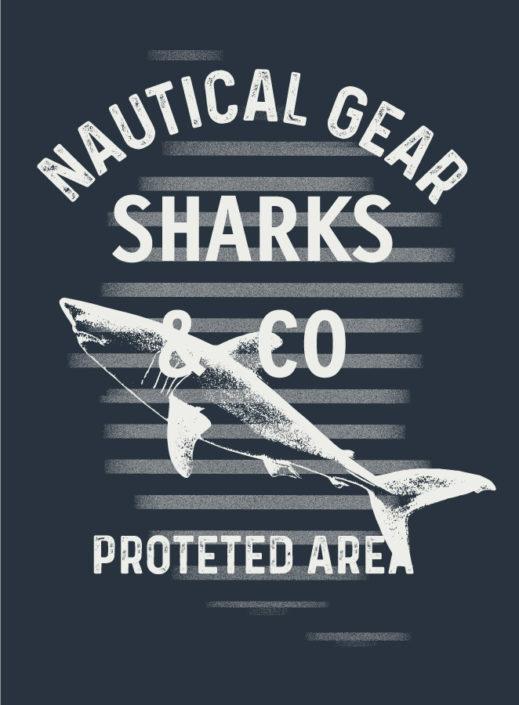 Print Typo Nautical Gear Sharks and Co Hai und Streifen Weiss auf Navy
