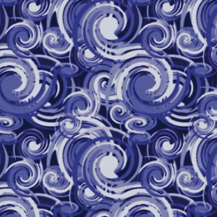 Allover Spiralen ineinander laufend mit Raster