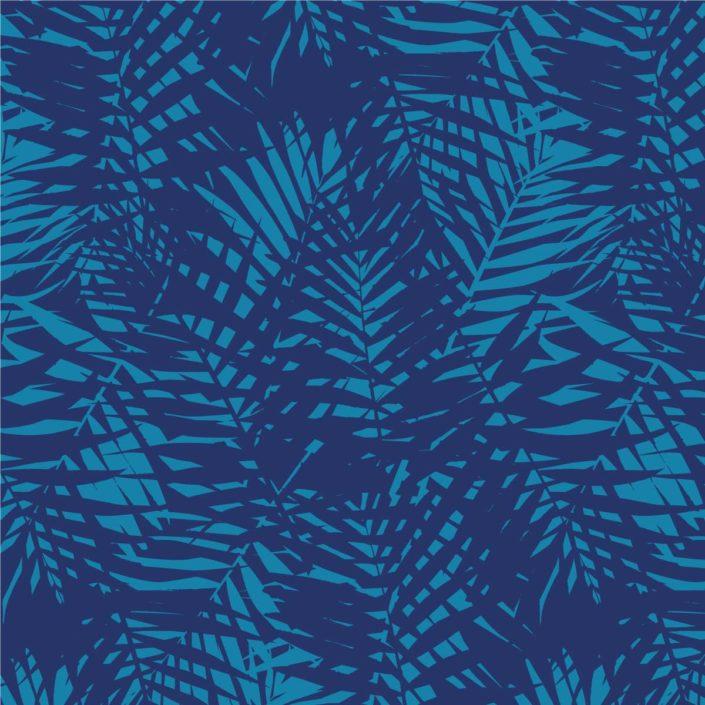 Allover Palmenblätter in zwei Blautönen
