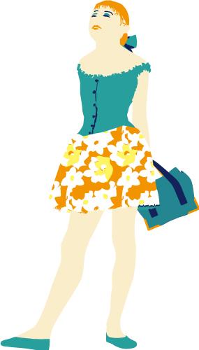 Textil-Grafik_Illustration_Maedchen_mit_kurzem_Rock_und_Tasche