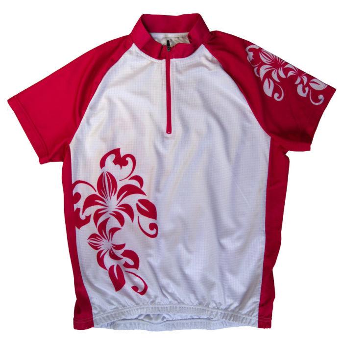 Photo Damen Laufshirt rote Hibsikusblüten auf Weiss