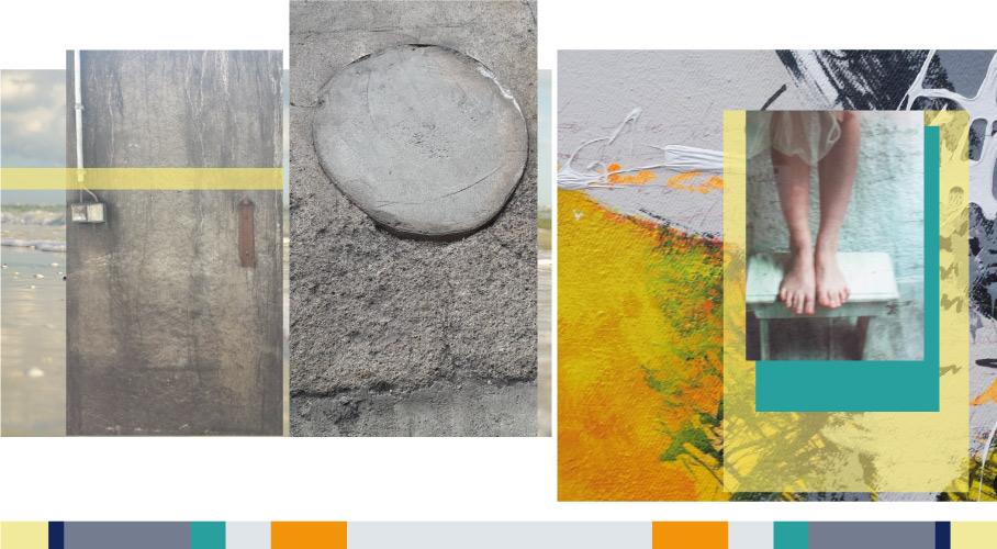 Textil-Grafik Moodboard Collage aus Strukturen mit Farben