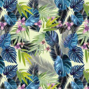 Allover Palmenblaetter und Blueten Blau und Gruen auf Pastellgelb