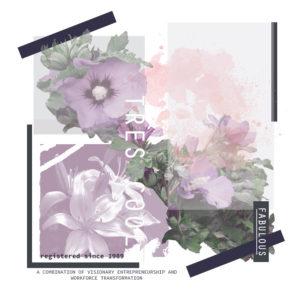 Photoprint Damen T-shirt schriftzug Tres Cool Blumen und geometrische Formen