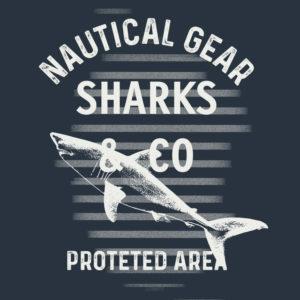 Print Typo HAKA Nautical Gear Sharks and Co Hai und Streifen Weiss auf Navy