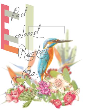 Artwork Eisvogel in Blumenbouquet