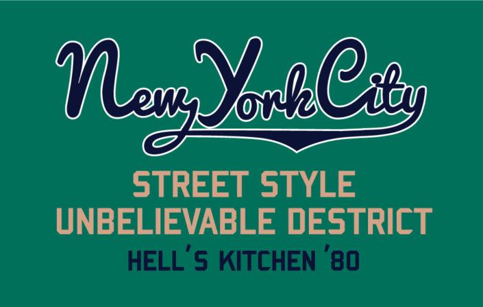 platzierter print schreibschrift New York City und Typo