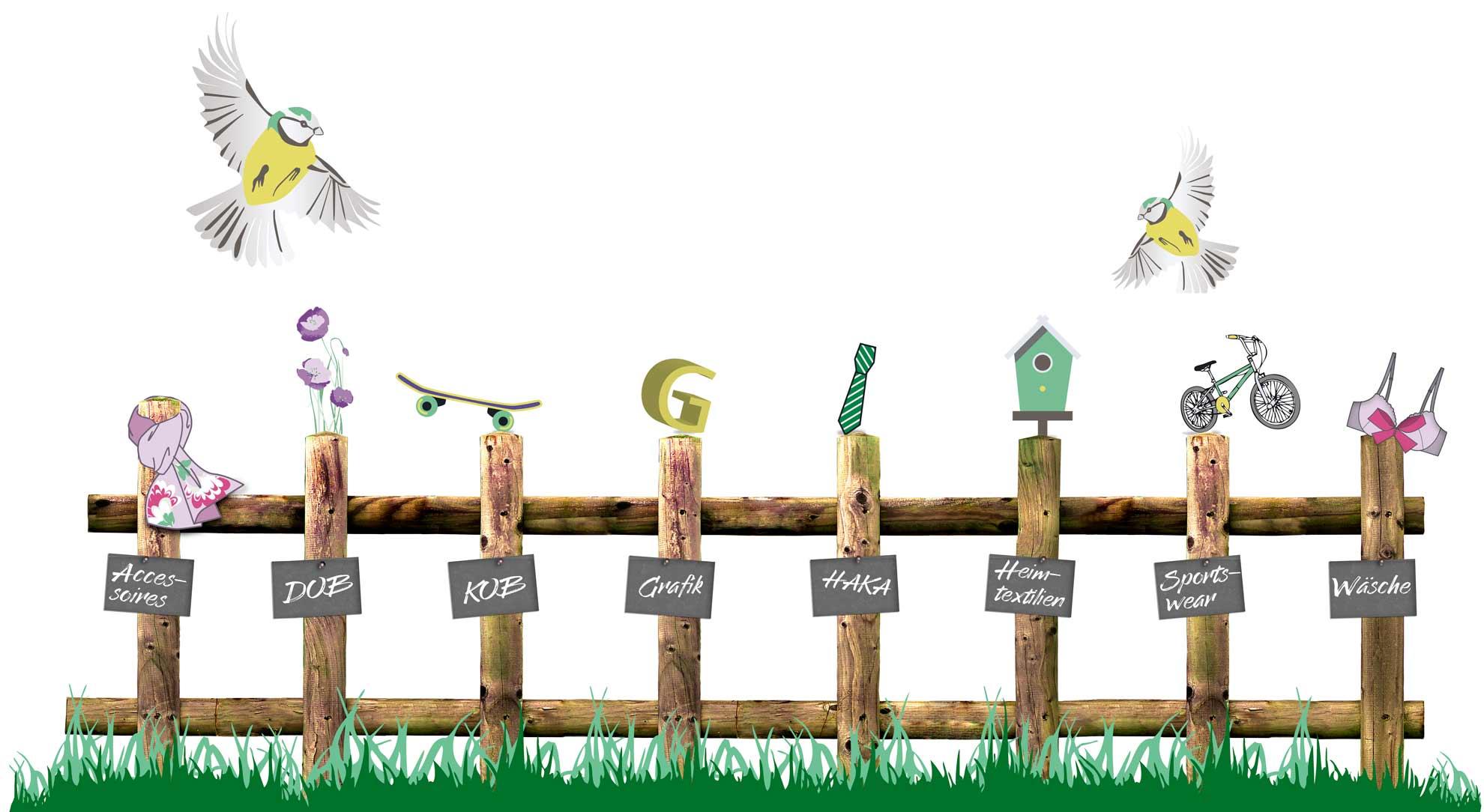 Illustration Zaun mit Beschriftung für Portfolioauswahl